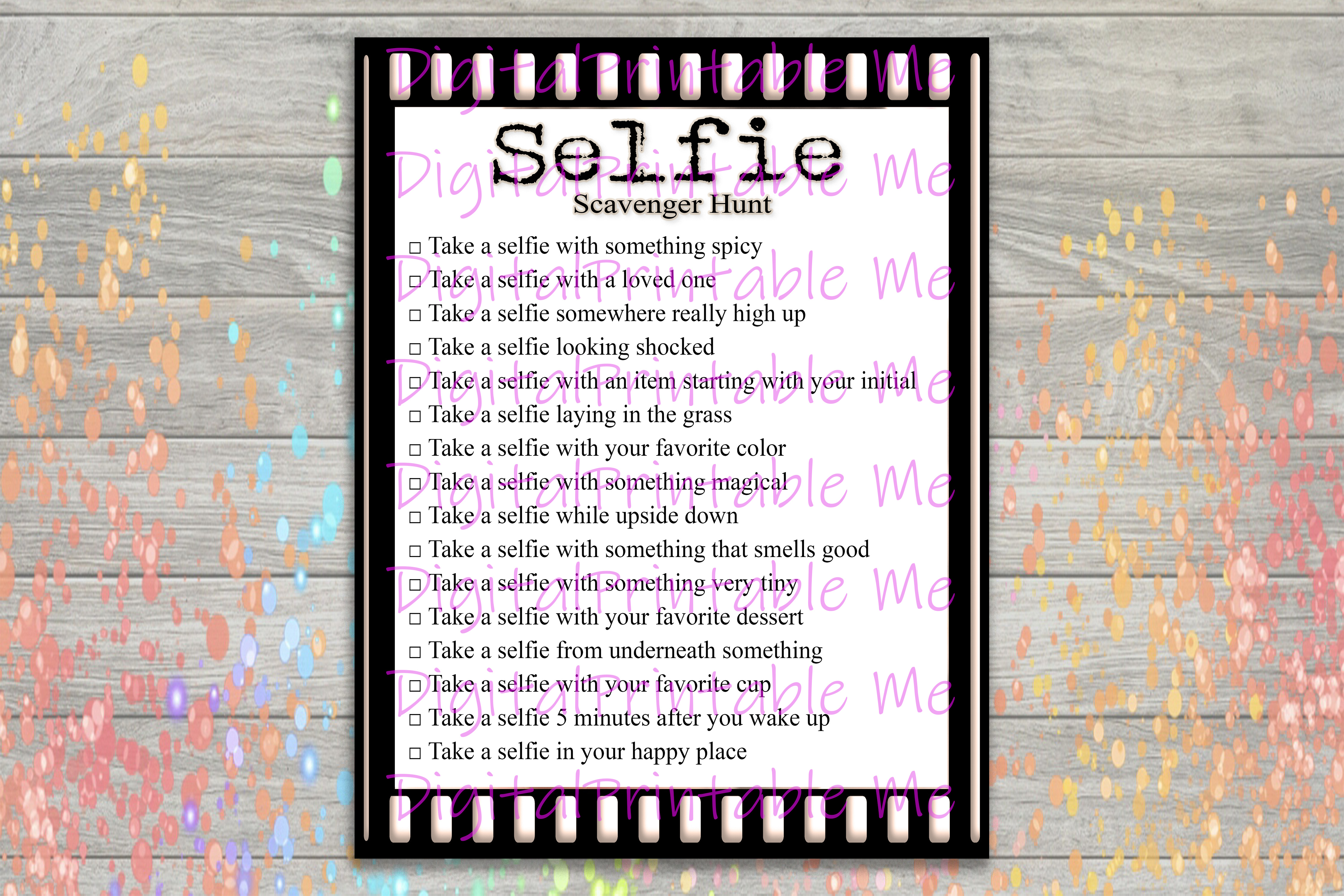 Download Free Selfie Scavenger Hunt Kids Adult Game Grafico Por for Cricut Explore, Silhouette and other cutting machines.