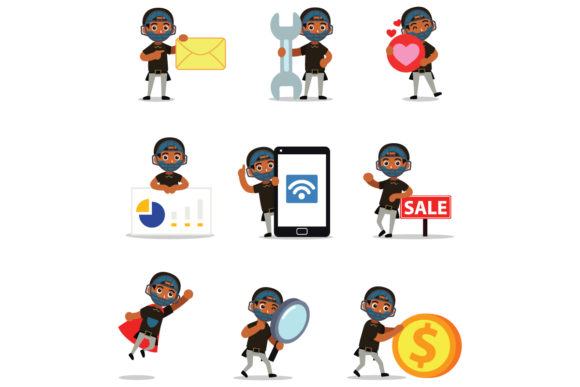 Set of Character Baseball Umpire Men Graphic Illustrations By cloudvector15