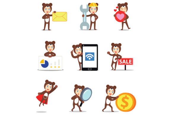 Set of Character Bear Men Graphic Illustrations By cloudvector15