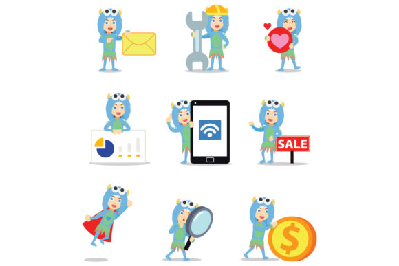Set of Character Blue Monster Women Graphic Illustrations By cloudvector15