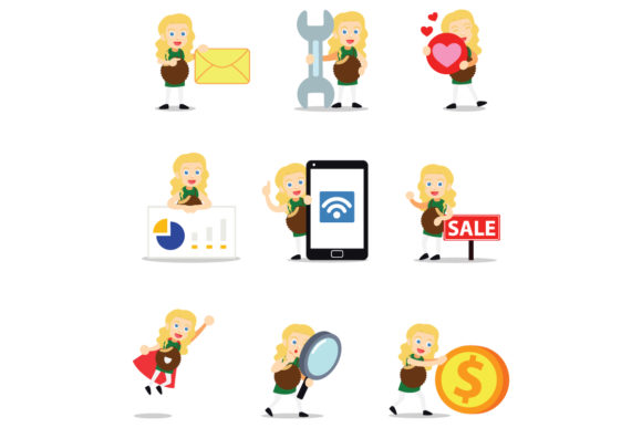 Set of Character Butter Cup Women Graphic Illustrations By cloudvector15