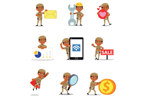 Set of Character Constable Polish Men Graphic Illustrations By cloudvector15