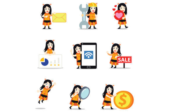 Set of Character Electric Hero Women Graphic Illustrations By cloudvector15