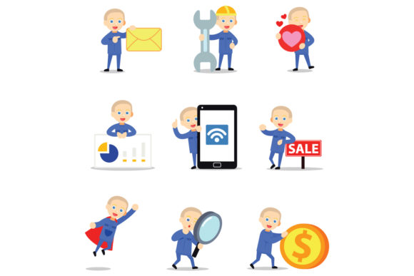 Set of Character Factory Worker Men Graphic Illustrations By cloudvector15