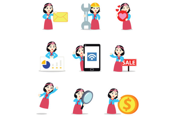 Set of Character Hanbok Women Graphic Illustrations By cloudvector15