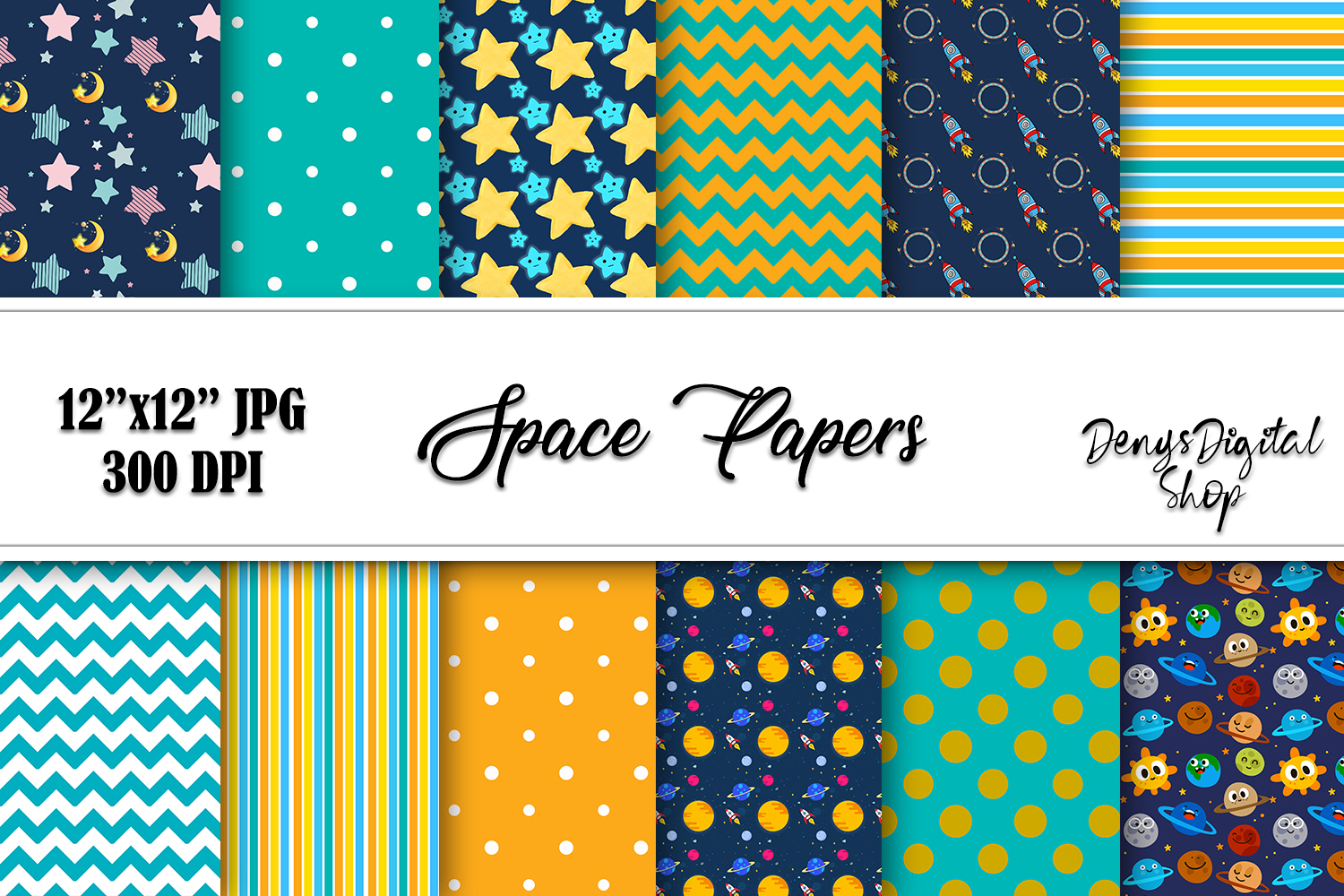 Download Free Space Digital Scrapbook Papers Downlaod Graphic By for Cricut Explore, Silhouette and other cutting machines.