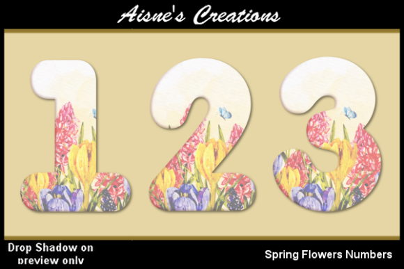 Print on Demand: Spring Flowers Numbers Graphic Objects By Aisne