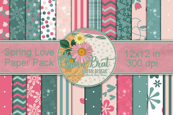 Print on Demand: Spring Love Backgrounds Graphic Backgrounds By QueenBrat Digital Designs