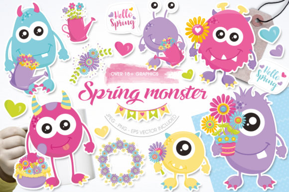 Print on Demand: Spring Monster Graphic Illustrations By Prettygrafik
