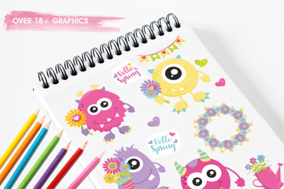 Print on Demand: Spring Monster Graphic Illustrations By Prettygrafik - Image 3