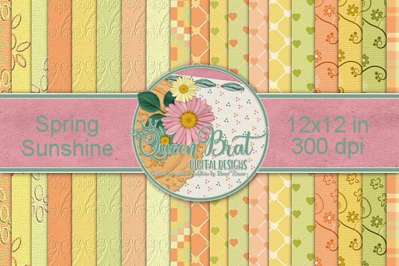 Print on Demand: Spring Sunshine Backgrounds Graphic Backgrounds By QueenBrat Digital Designs