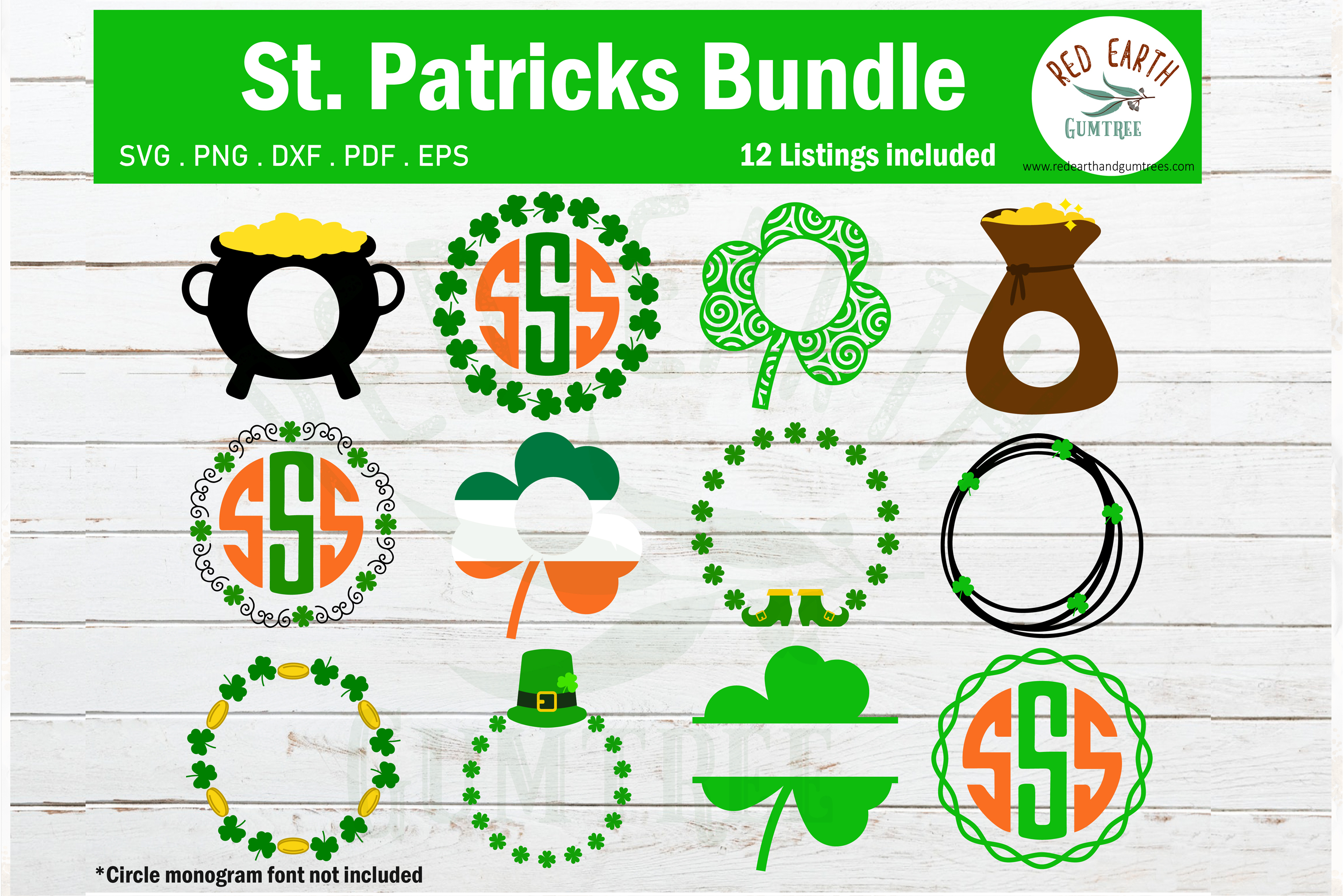 Download Free St Patrick S Day Monograms Bundle Graphic By Redearth And for Cricut Explore, Silhouette and other cutting machines.