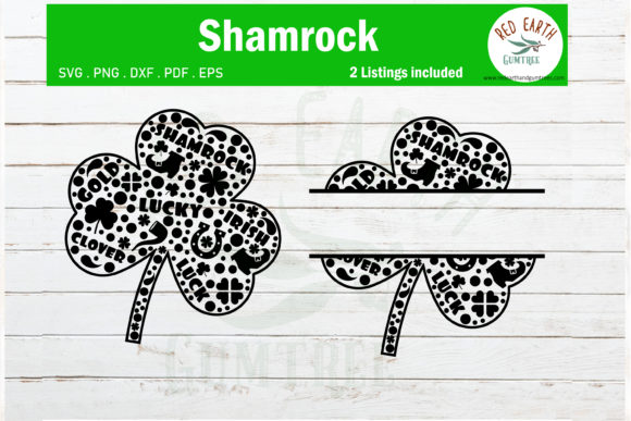 St Patrick's Shamrock Monogram Clover Graphic Crafts By redearth and gumtrees - Image 1