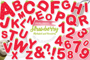 Download Free Strawberry Alphabet And Numbers Graphic By Prettygrafik for Cricut Explore, Silhouette and other cutting machines.