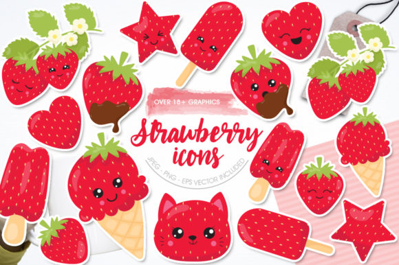 Print on Demand: Strawberry Icons Graphic Illustrations By Prettygrafik