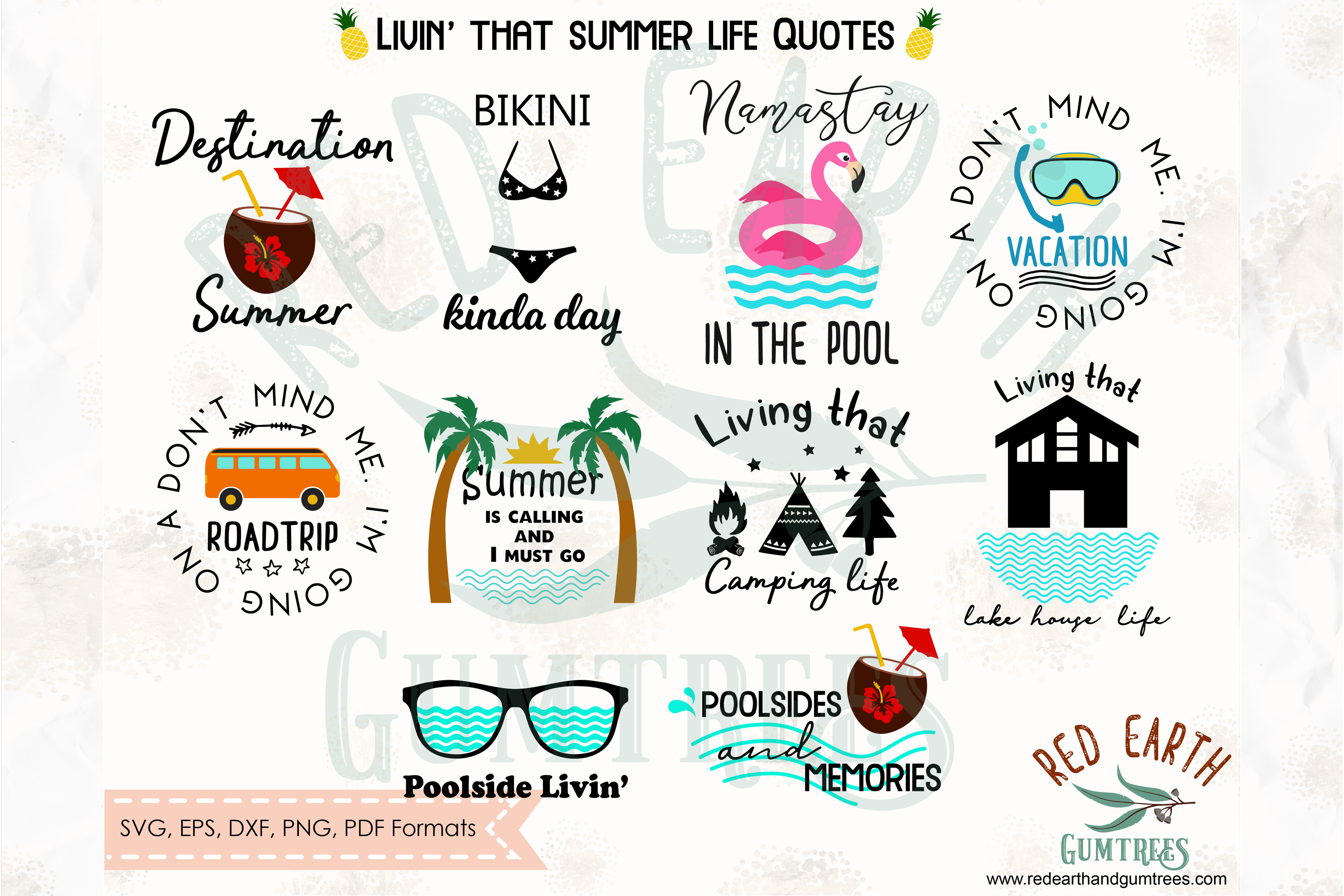 Download Free Summer Quotes Bundle Graphic By Redearth And Gumtrees Creative for Cricut Explore, Silhouette and other cutting machines.