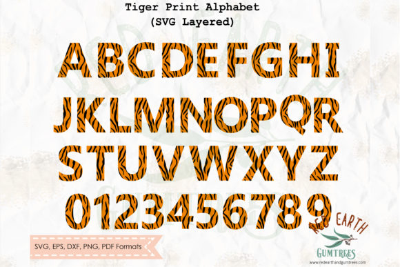 Tiger Print Letters Alphabet Graphic Crafts By redearth and gumtrees