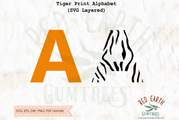 Download Free Tiger Print Letters Alphabet Svg Graphic By Redearth And for Cricut Explore, Silhouette and other cutting machines.