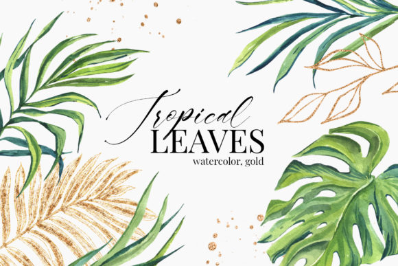 Tropical Green Golden Leaves Watercolor Graphic Illustrations By lena-dorosh