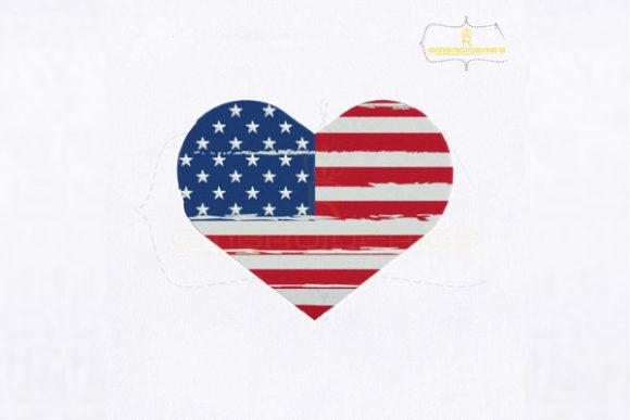 USA Flag Heart Texture Independence Day Embroidery Design By RoyalEmbroideries