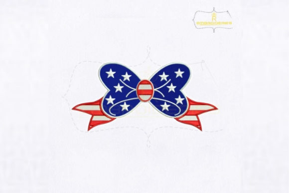 USA Independence Day Bow Embroidery