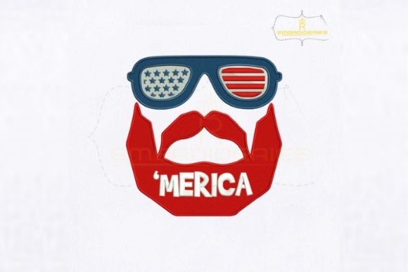 USA Merica Bearded Man Embroidery