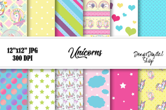 Unicorn Pony Digital Paper, Scrapbook Graphic Crafts By denysdigitalshop
