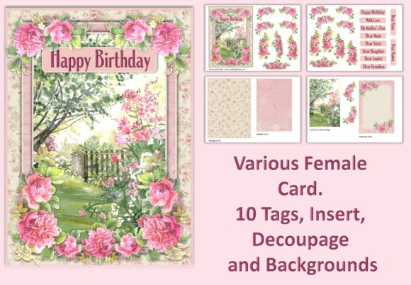 Water Colour Garden Card Making Kit 1 Graphic Crafts By DigitalCraftsco