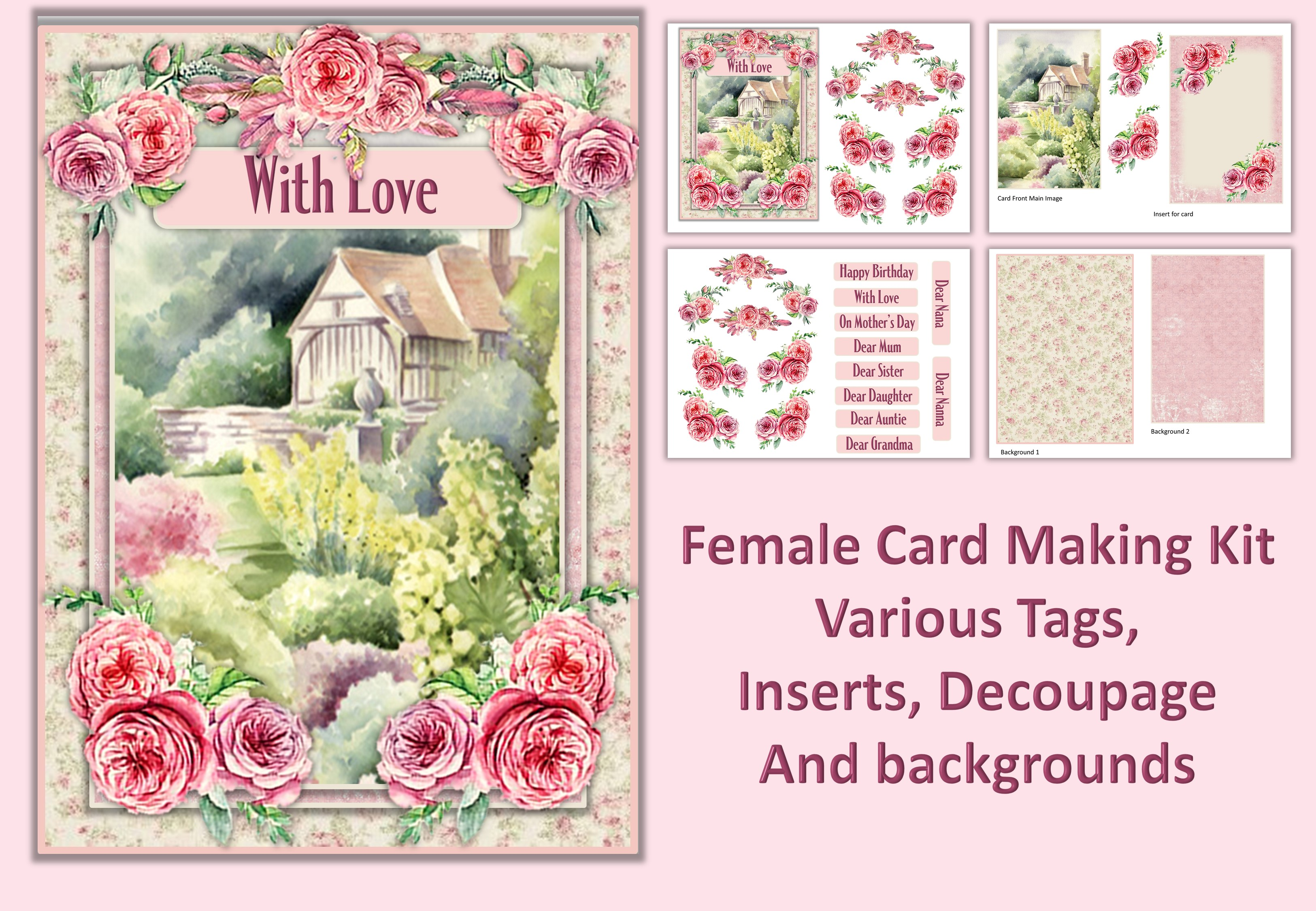 Download Free Water Colour Gard Card Making Kit 2 Graphic By Digitalcraftsco for Cricut Explore, Silhouette and other cutting machines.