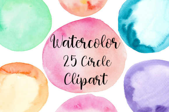 Watercolor Circle Clipart Graphic Textures By PinkPearly