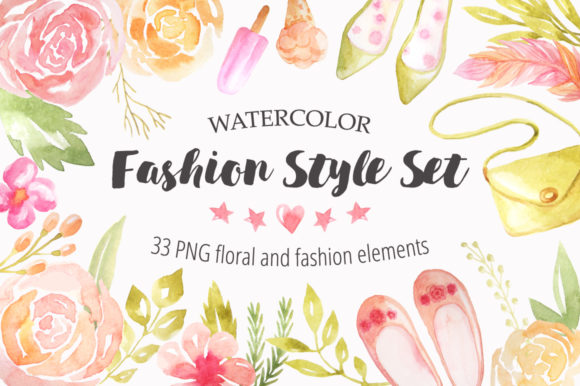Watercolor Fashion Style Set Graphic Illustrations By Larysa Zabrotskaya