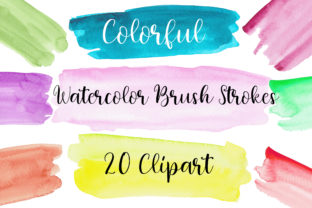 Watercolor Paint Brush Strokes Clipart Graphic Textures By PinkPearly