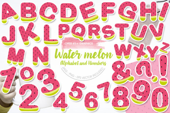 Print on Demand: Watermelon Alphabet and Numbers Graphic Illustrations By Prettygrafik