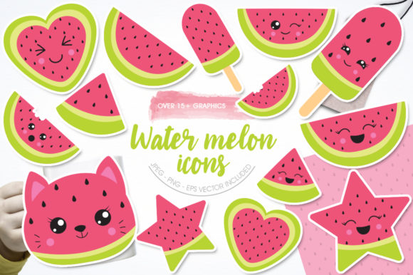 Print on Demand: Watermelon Icons Graphic Illustrations By Prettygrafik