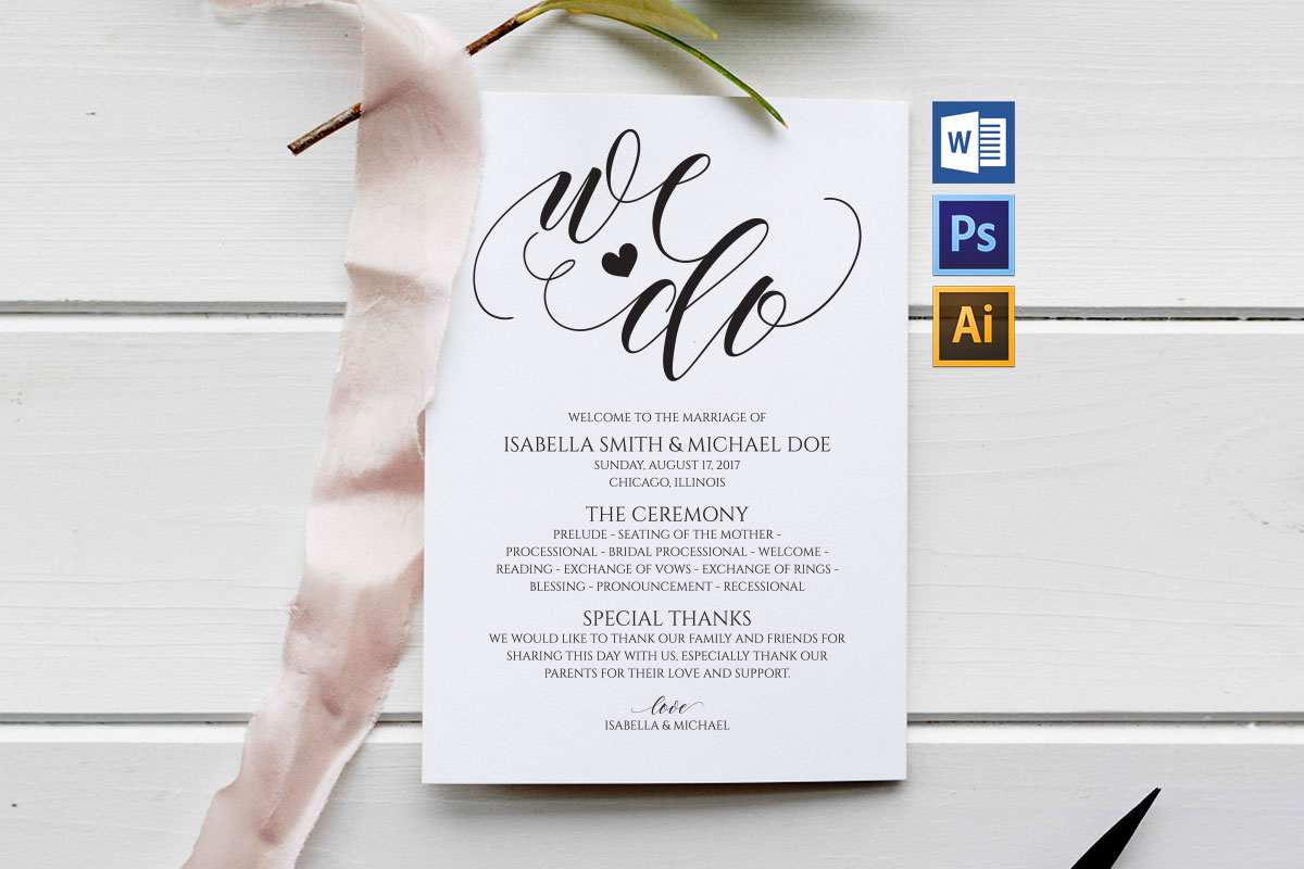 Download Free Wedding Program Template Graphic By Weddingprintables Creative for Cricut Explore, Silhouette and other cutting machines.