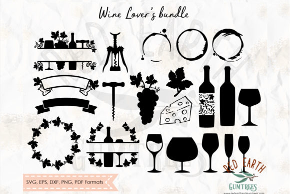 Download Free Wine Lovers Elements Bundle Graphic By Redearth And Gumtrees for Cricut Explore, Silhouette and other cutting machines.