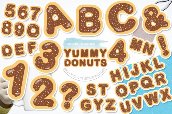 Print on Demand: Yummy Chocolate Donuts Alphabet and Numb Graphic Illustrations By Prettygrafik