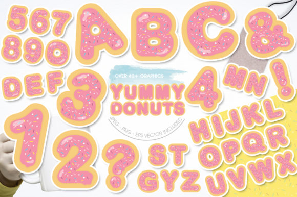Print on Demand: Yummy Pink Donuts Alphabet and Numbers Graphic Illustrations By Prettygrafik - Image 1