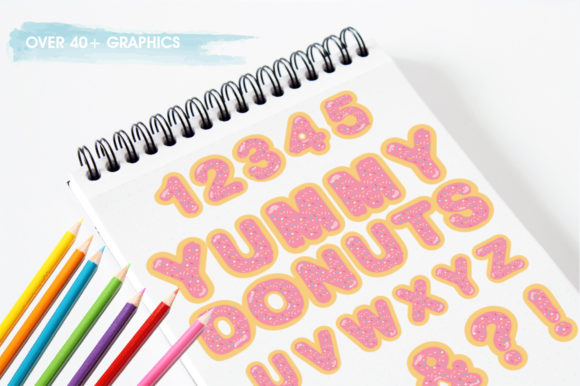 Print on Demand: Yummy Pink Donuts Alphabet and Numbers Graphic Illustrations By Prettygrafik - Image 3