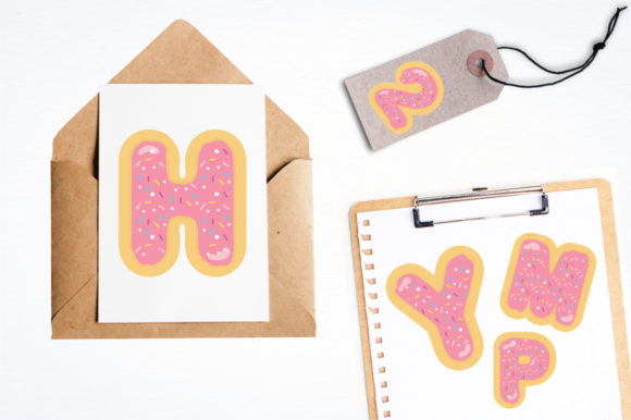 Print on Demand: Yummy Pink Donuts Alphabet and Numbers Graphic Illustrations By Prettygrafik - Image 4