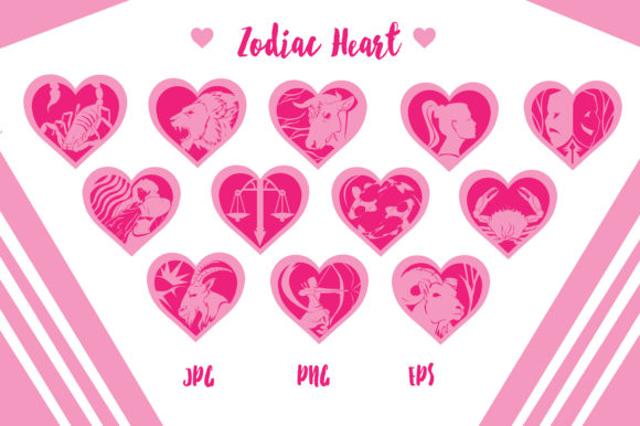 Zodiac Hearts - Horoscope Graphic Crafts By RFG