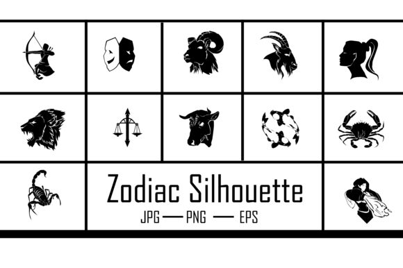 Zodiac Silhouette Horoscope Graphic Illustrations By RFG