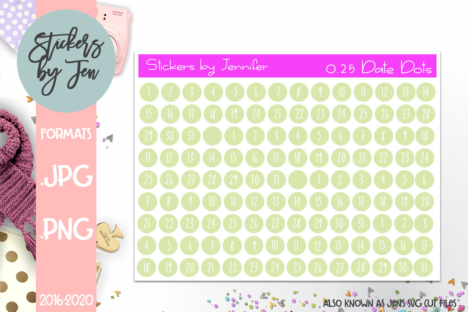 Download Free 0 25 Date Dot Planner Stickers 012 Grafico Por Stickers By for Cricut Explore, Silhouette and other cutting machines.