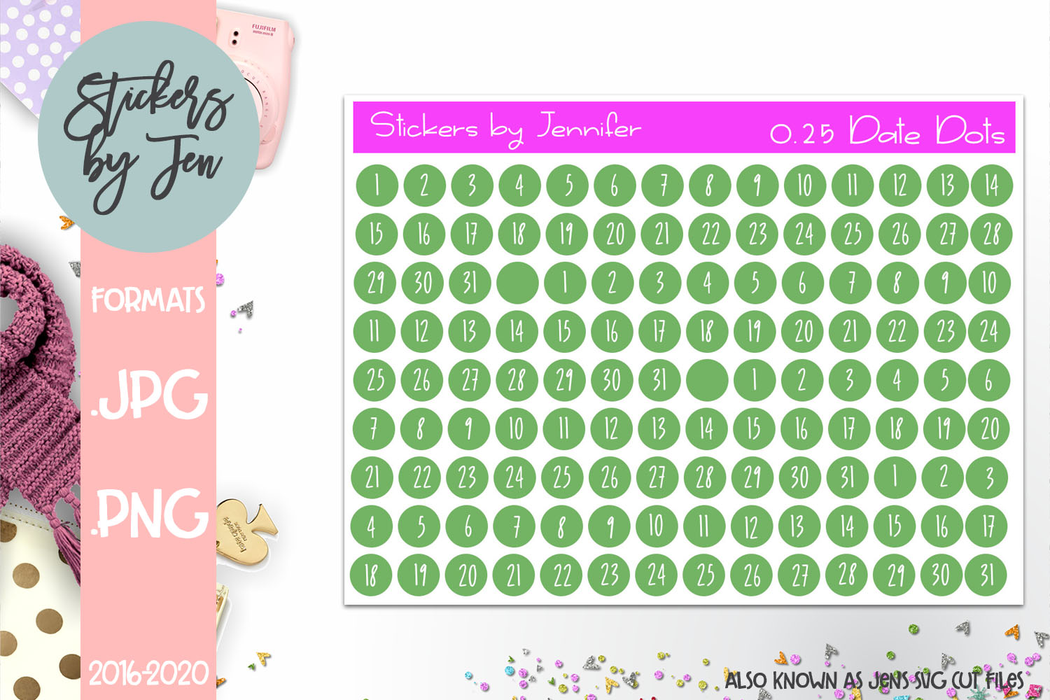 Download Free 0 25 Date Dot Planner Stickers 014 Grafik Von Stickers By for Cricut Explore, Silhouette and other cutting machines.