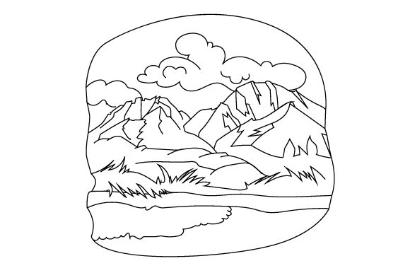 Download Free Mountain Scene Coloring Page Svg Cut File By Creative Fabrica for Cricut Explore, Silhouette and other cutting machines.
