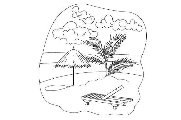 Beach Scene Coloring Page Designs & Drawings Craft Cut File By Creative Fabrica Crafts