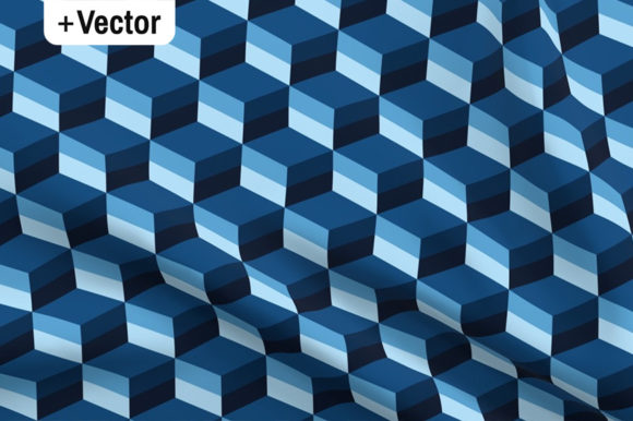 Print on Demand: 3D Classic Blue Striped Cubes Pattern Graphic Patterns By Dana Du Design