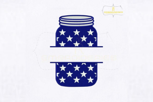 4th of July Flag Mason Jar Independence Day Embroidery Design By RoyalEmbroideries