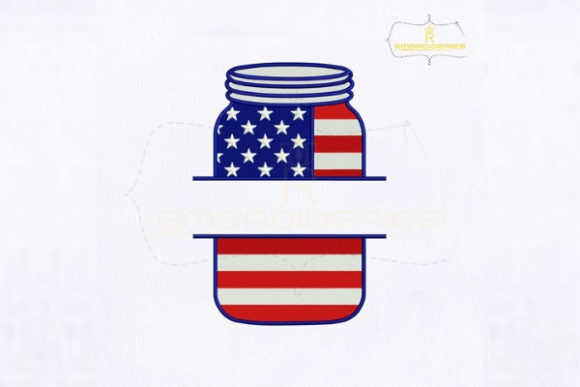 4th of July Mason Jar Monogram Independence Day Embroidery Design By RoyalEmbroideries
