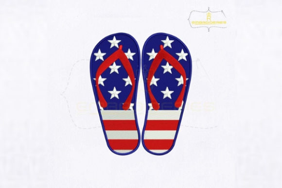 4th of July USA Flip Flop Independence Day Embroidery Design By royalembroideries